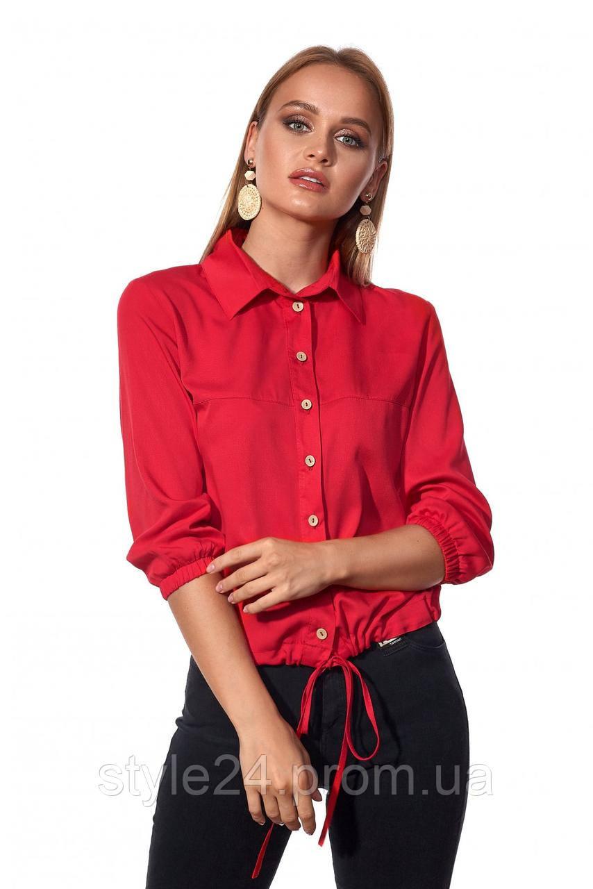 ЖІноча блуза з затяжками внизу ,2 кольори . Р-ри  42-52