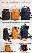 Кожаный рюкзак на затяжках с карабином, размер большой Винтажная кожа цвет Синий, фото 3
