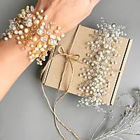 Широкий свадебный браслет для невесты с бусин золотистый и серебристый ручной работы