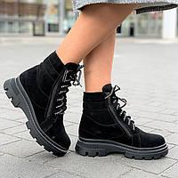 Ботинки женские зимние спортивные замшевые черные на толстой подошве (Код: Б1576)