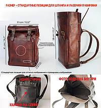 """Чоловічий Рюкзак """"Hankle H7"""" Вінтажна шкіра Коньяк + Вишня, фото 3"""