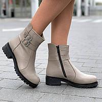 Ботинки женские зимние кожаные полусапожки бежевые (Код: Б1578)
