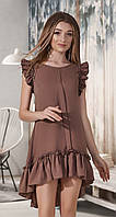 Асимметричное платье с оборками