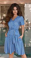 Расклешённое льняное женское платье в полоску