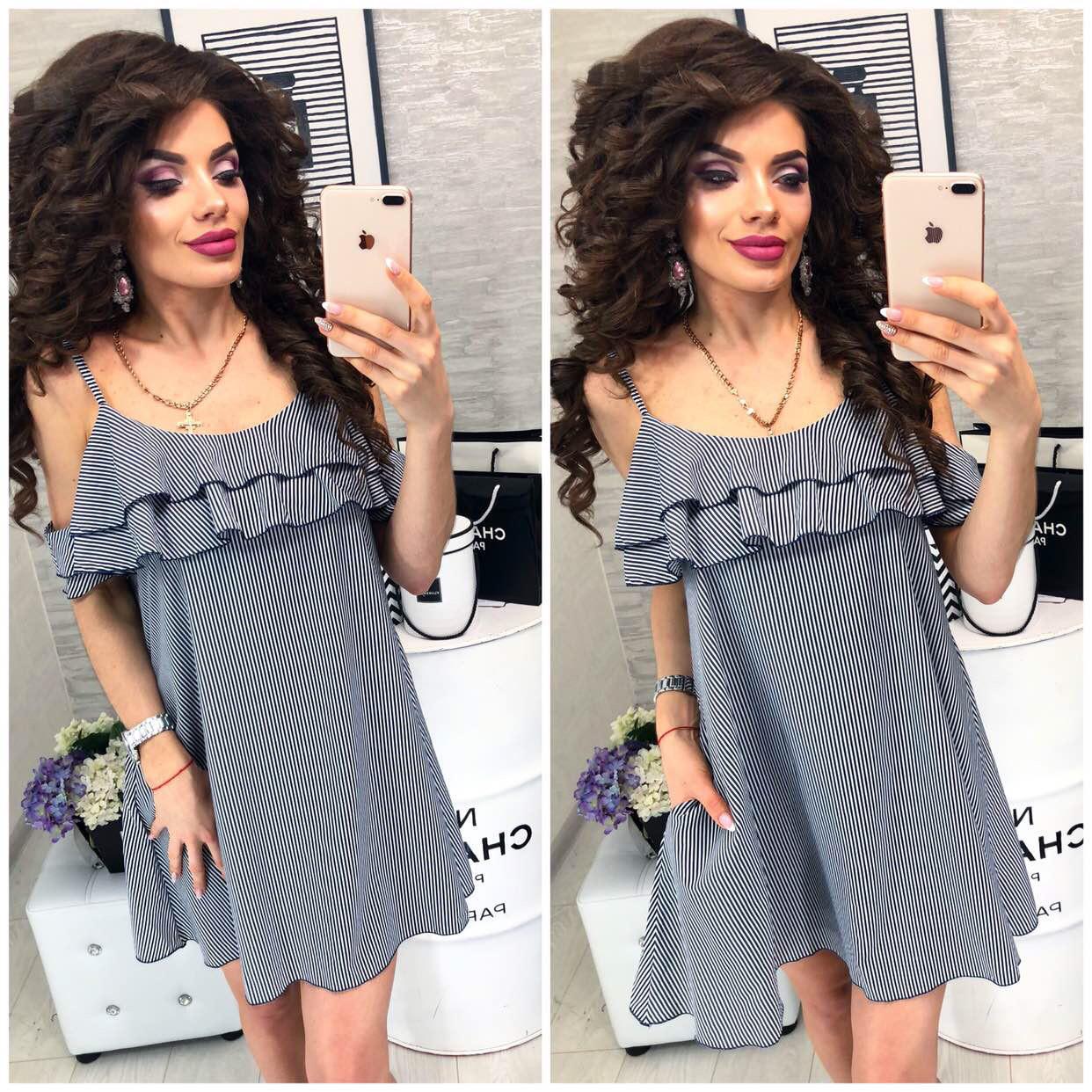 Сукня коротка, в смужку ,літній з воланом, модель 102, в чорно-білу смужку