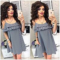 Сукня коротка, в смужку ,літній з воланом, модель 102, в чорно-білу смужку, фото 1