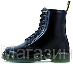 Женские зимние ботинки Dr. Martens 1460 Black Smooth VEGAN Доктор Мартинс С МЕХОМ черные