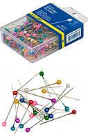 """Булавки """"Buromax"""" (34 мм./200 шт.) цветные, в пластиковой упаковке с европодвесом"""