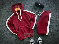 Спортивный костюм теплый на флисе бордового цвета с лампасами