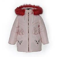 Куртка детская зимняя-демисезонная для девочки Зайка 86,92,98,104см ПУДРА жилетка из овчины снимается