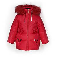 Куртка детская зимняя-демисезонная для девочки Зайка 86,92,98,104см КРАСНАЯ жилетка из овчины снимается