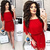 Платье с выбитым рисунком , модель 105, цвет Красный, фото 1