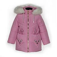 Куртка детская зимняя-демисезонная для девочки Зайка 86,92,98,104см СИРЕНЬ жилетка из овчины снимается