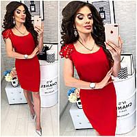 Платье с выбитым рисунком на коротком рукаве , модель 106, цвет Красный, фото 1