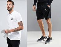 Футболка поло з шортами, Чоловічий комплект поло і шорти Fred Perry білий