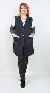 Турецкая женская жилетка с английским воротником, большие размеры 50-58