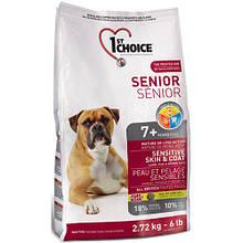Сухой корм для пожилых или малоактивных собак с ягнёнком и океанической рыбой 1st Choice Senior 2,72 кг