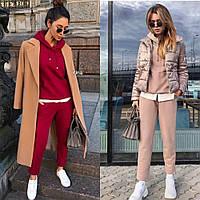 Костюм  женский, прогулочный, с капюшоном, укороченные штаны, кофта с имитацией рубашки, повседневный, модный, фото 1