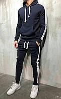 Спортивный костюм мужской зимний теплый синий качественный с лампасами