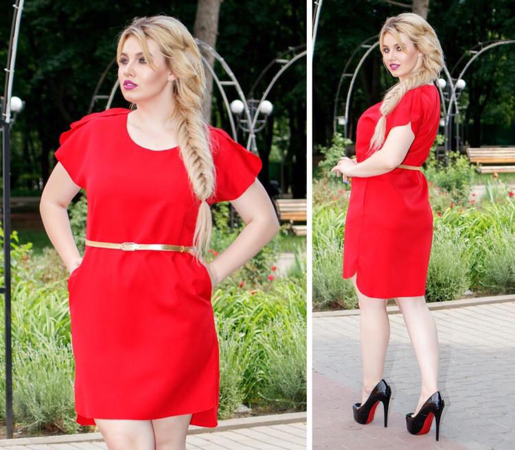 Платье с поясом, модель 815, Цвет Красный