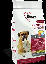 Сухой корм для пожилых или малоактивных собак с ягнёнком и океанической рыбой 1st Choice Senior 12 кг
