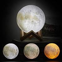 Настольный 3D светильник-ночник Луна 15 см