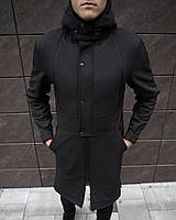 Пальто мужское до 0* С / куртка длинная осенне-весенняя Soft Shell black