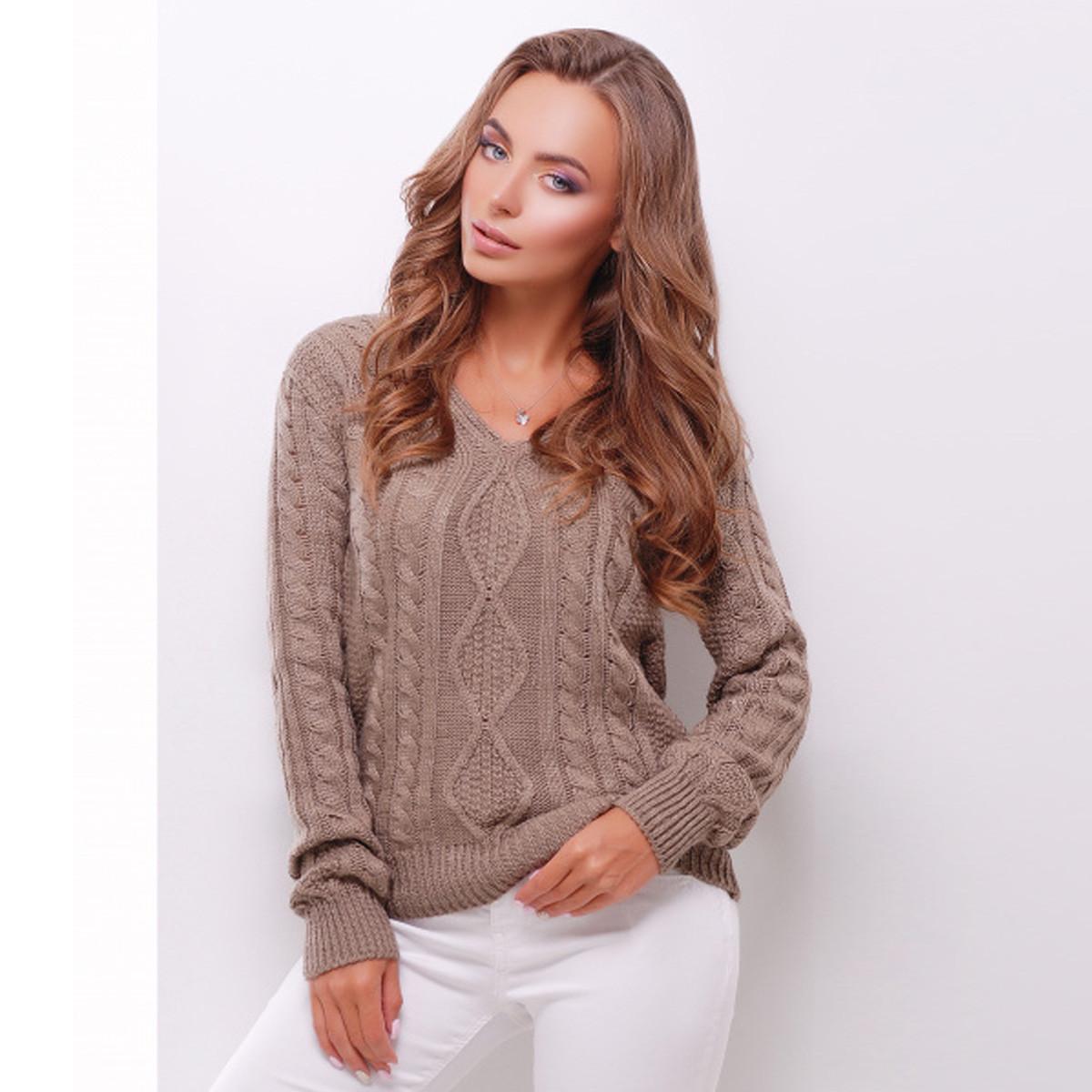 """Жіночий теплий кавовий светр """"Ромби"""""""