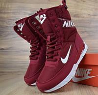 Женские зимние сапоги дутики Nike с мехом бордовые (зимние сапоги). Реплика