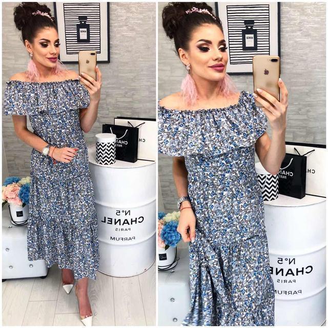 Платье ,длинное с воланом, модель 101, голубой цветочный принт