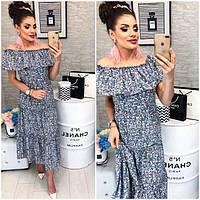 Платье ,длинное с воланом, модель 101, голубой цветочный принт , фото 1