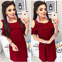 Платье с воланом, модель 820, цвет Вишневый, фото 1