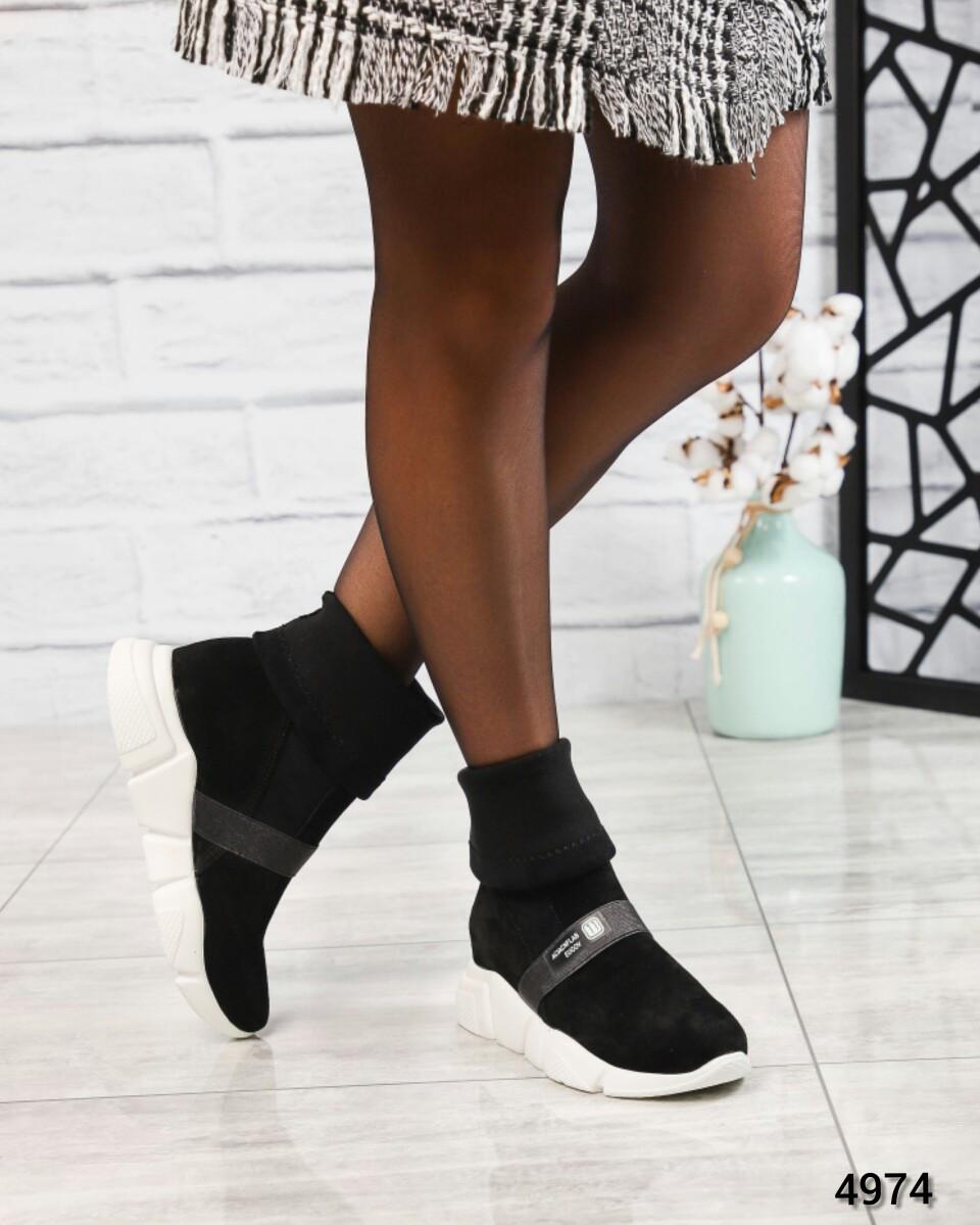 """Ботинк женские  с """"носком"""" черные"""