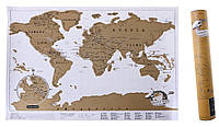 Скретч-карта мира по путешествиям + тубус! Отличный подарок парню или девушке на Новый Год и День рождение!, фото 1