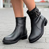 Ботинки женские зимние кожаные черные, полусапожки (Код: Л1583а)