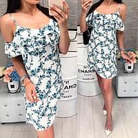 Платье короткое ,летнее  с воланом, модель 102, мелкие изумрудного цвета ,цветочки на белом фоне, фото 1