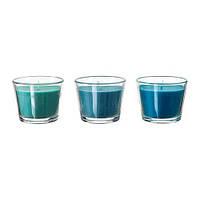 """ИКЕА """"БРЭККА""""Ароматическая свеча в стакане, голубой"""