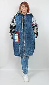 Турецкая женская джинсовая куртка на меху, больших размеров 52-64