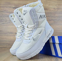Женские зимние сапоги дутики Nike Zoom с мехом белые (зимние сапоги). Реплика