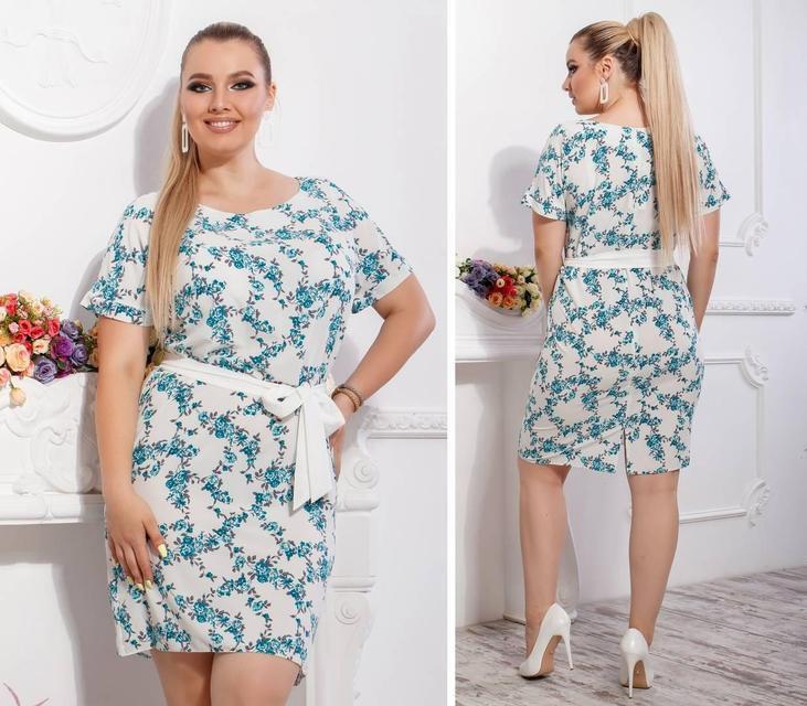 Сукня з поясом-Батал , модель 110, принт дрібні бірюзові квіточки на білому тлі