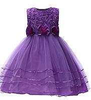 Платье детское на праздник фиолетовое с цветочным узором на 5-6 лет