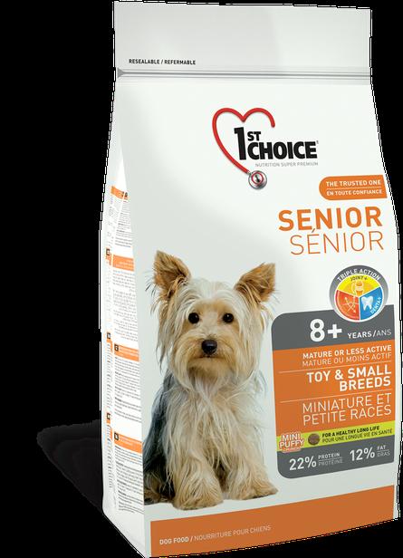 Сухой корм для пожилых или малоактивных собак малых пород с курицей 1st Choice Senior Toy&Small Breeds 7 кг