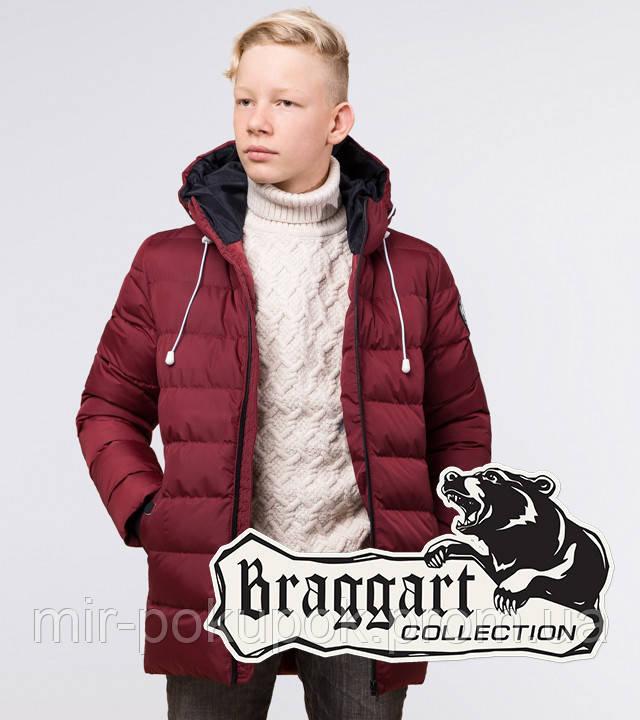 Braggart Kids | Зимняя куртка детская 65028 бордовая, фото 1