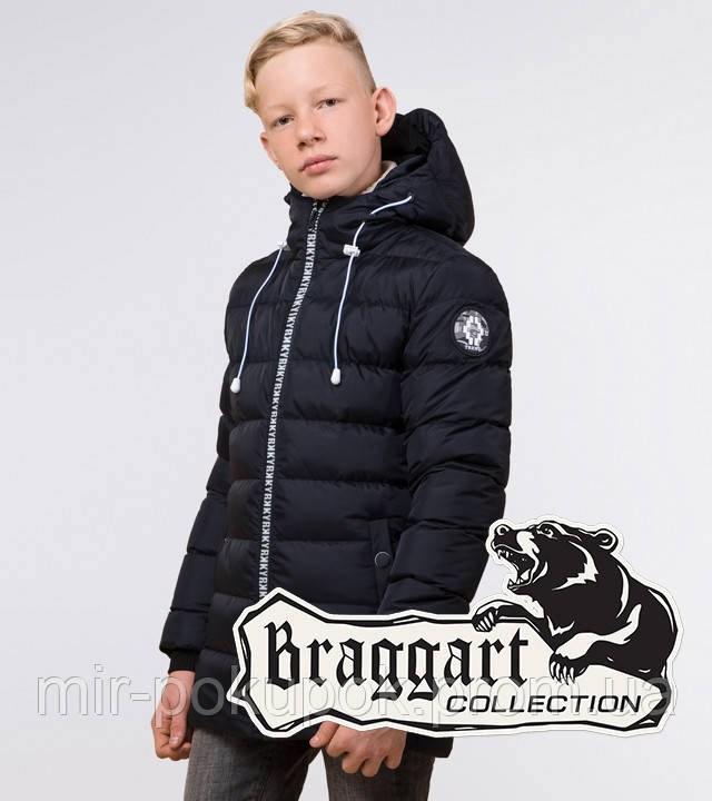 Braggart Kids   Зимняя куртка для мальчика 65028 сине-черная, фото 1
