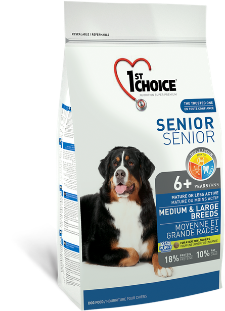 Сухой корм для пожилых или малоактивных собак средних и крупных пород с курицей 1st Choice Senior 7 кг