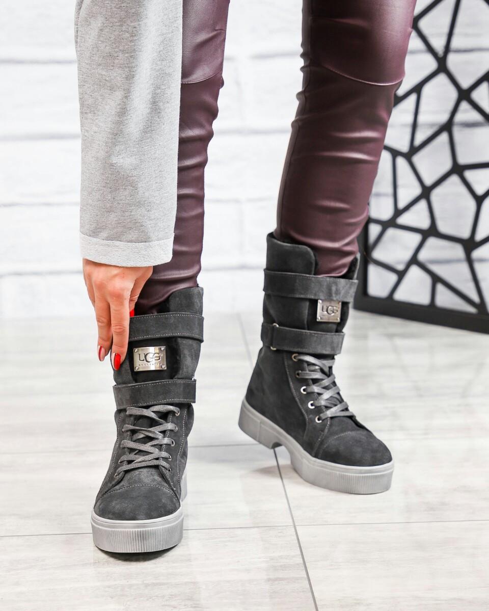 Зимние ботинки женские  с лейбой серые