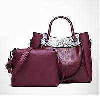 Набор женских сумок 2в1 из качественной экокожи с косточками бордового цвета, фото 1