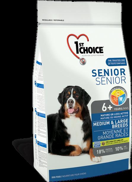 Сухий корм для літніх або малоактивних собак середніх та великих порід з куркою 1st Choice Senior 14 кг