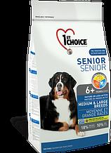 Сухой корм для пожилых или малоактивных собак средних и крупных пород с курицей 1st Choice Senior 14 кг