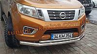 Дуга двойная хром D70-48 для Ниссан Навара 2015+ Защита переднего бампера труба двойная Nissan Navara 2015+